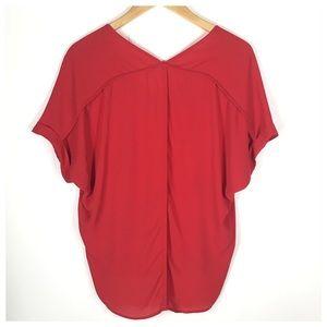 Lush Tops - LUSH Red V Neck Chiffon Blouse Size Small